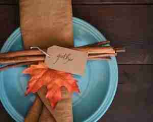 thanksgiving set with cinnamon sticks and an orange leaf